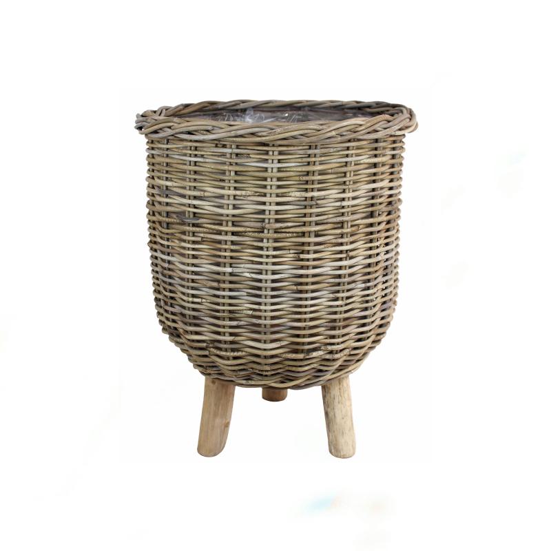 Basket on Legs Rattan L  Grey