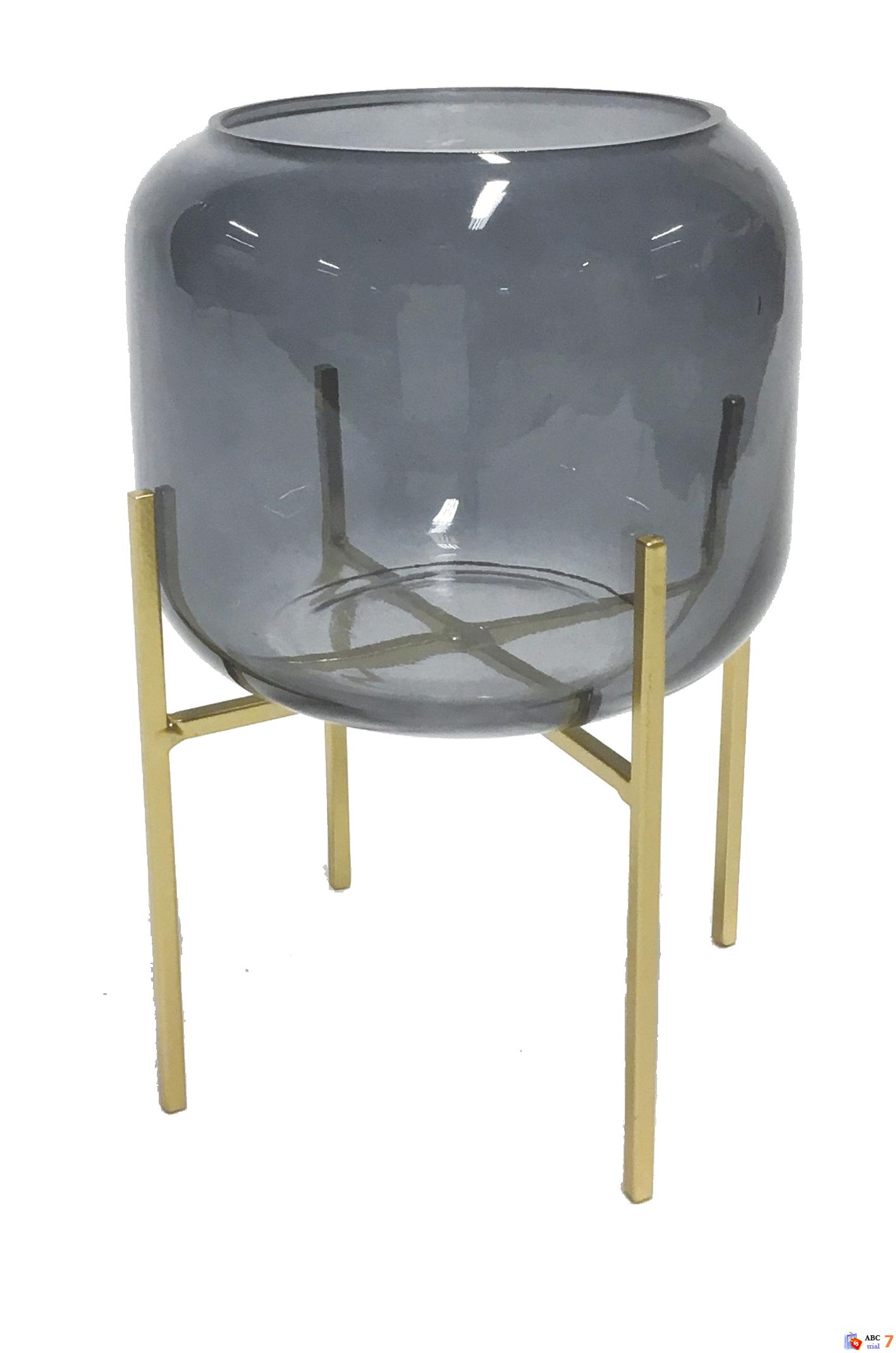 Vase Grey w/Pedestal