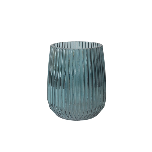 Glass Vase Stripes Petrol