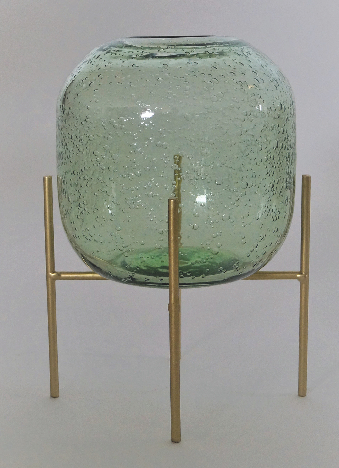 Vase Bubble Green w/Pedestal
