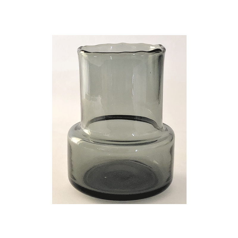 Glass Vase Retro Low Grey