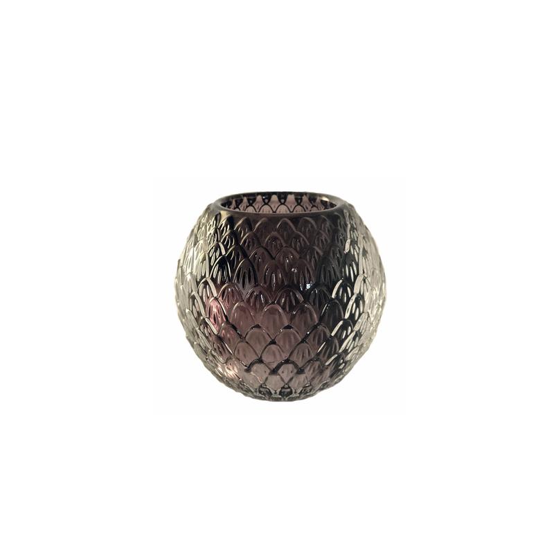 Glass Candleholder Globe Black