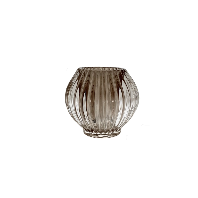 Glass Globe w/ Stripes Grey
