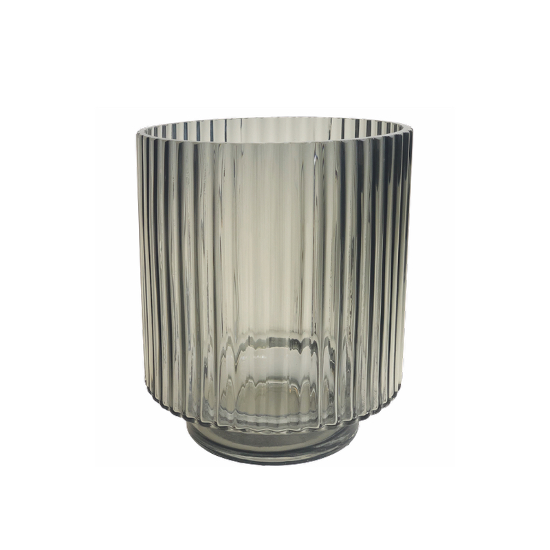 Glass Vase Grey Stripes