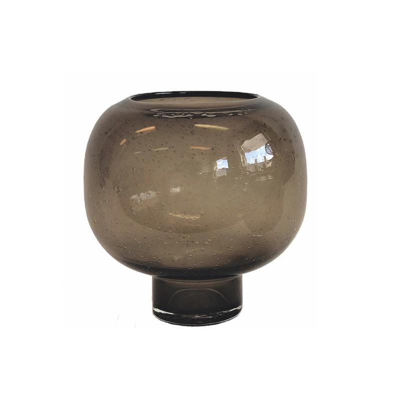 Glass Vase Brown Bubble L