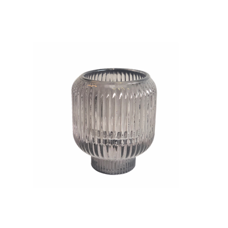 Candleholder Stripes Dark Grey