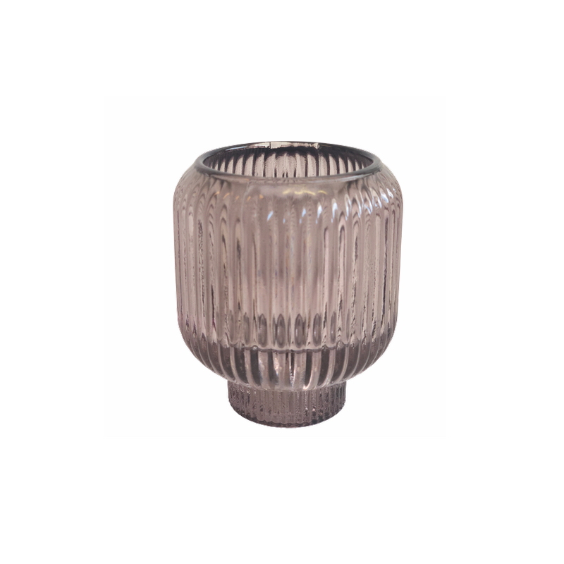 Candleholder Stripe Rose Taupe