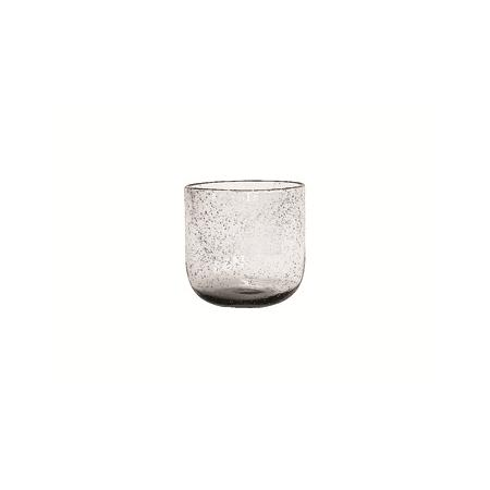 Glass Candleho w/Bubbles Clear
