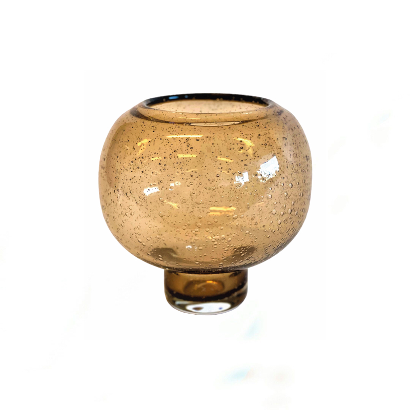 Glass Vase Amber Bubble S