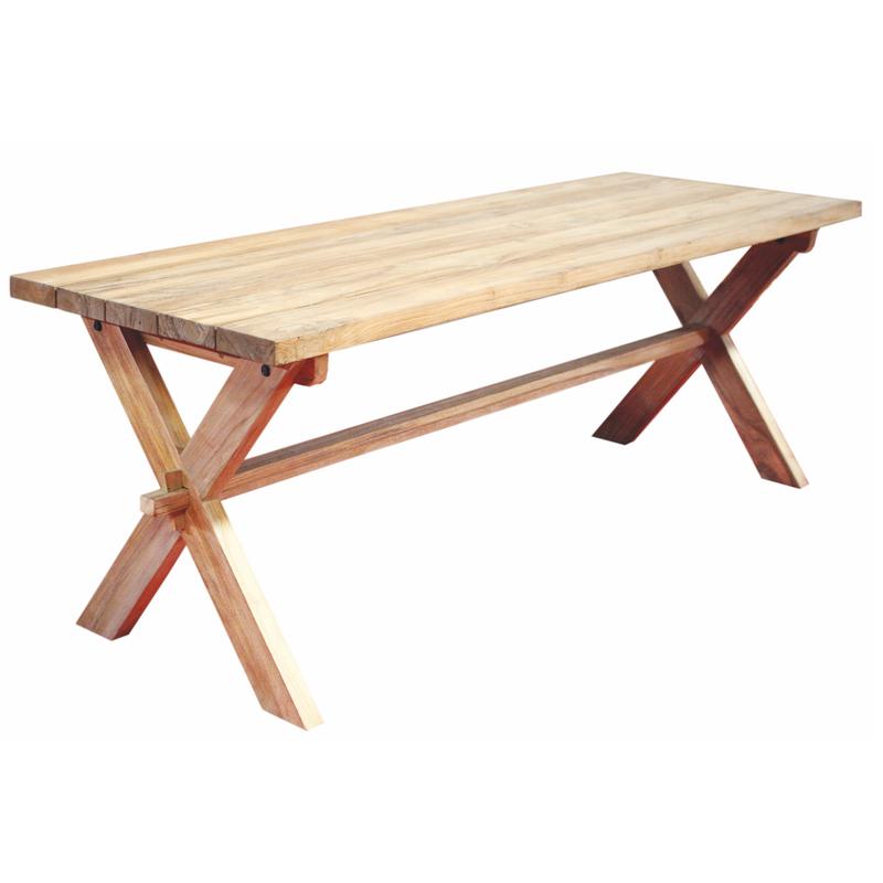 Table Cross Teak Natural