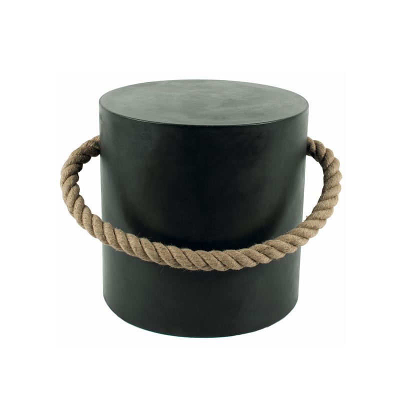 Maritim Stool with Rope Black