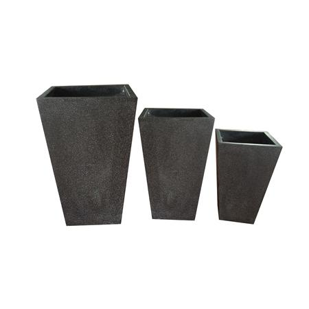 Fiberterrazzo Pot sq Black s/3