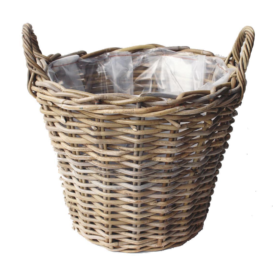 Basket Round w/handle Grey Ø30